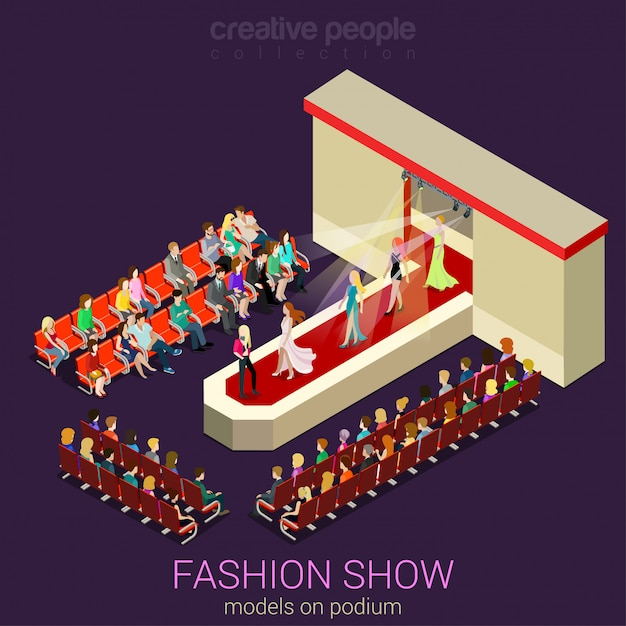 Fashion show concept female photo models walking on scene podium demonstrating new clothes dress flat isometric  . Premium Vector