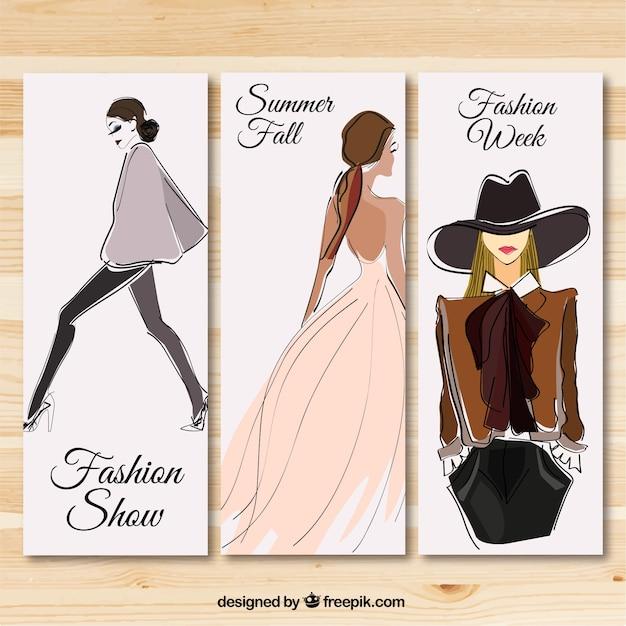 Fashion show баннеры Бесплатные векторы