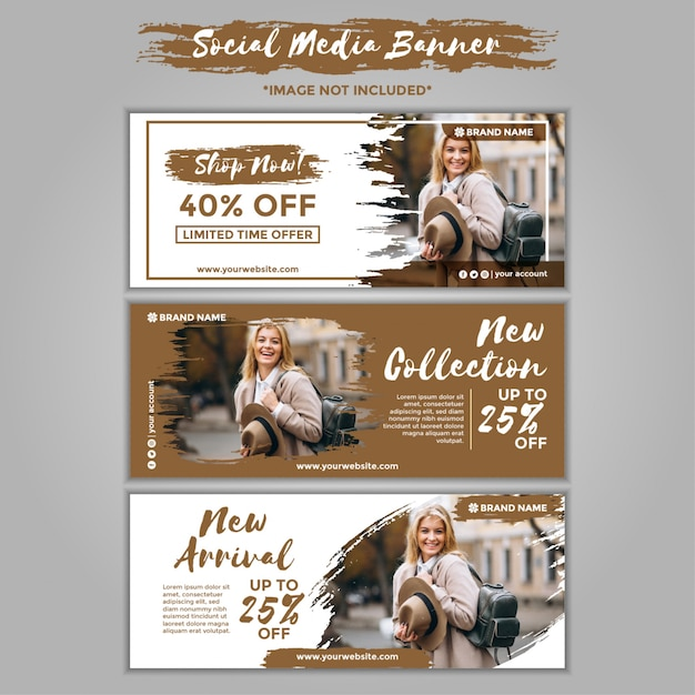Fashion social media banner template pack Premium Vector