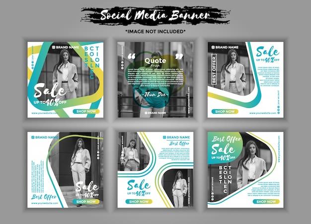 Fashion social media banner template pack Premium Vector