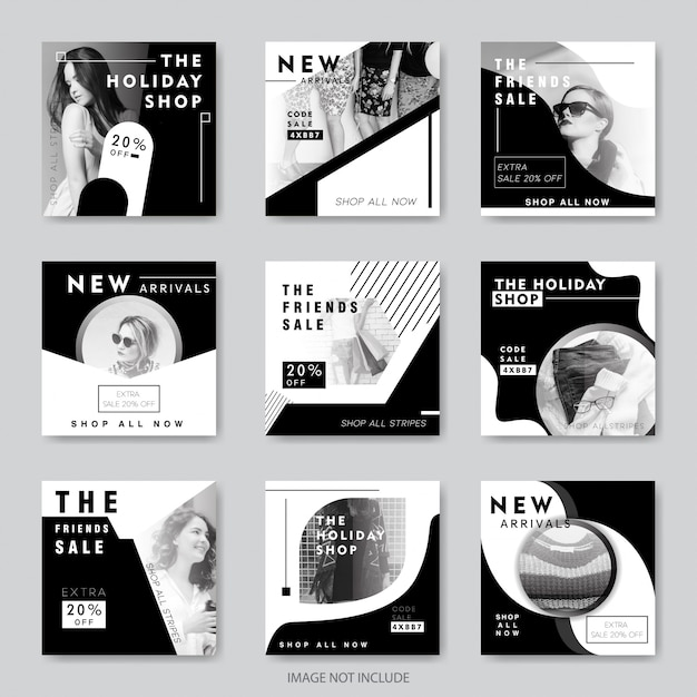 Fashion social media banners for digital marketing Premium Vector