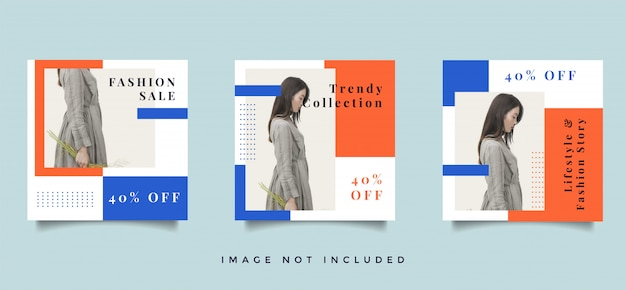 Fashion social media feed post promotion design collection Premium Vector