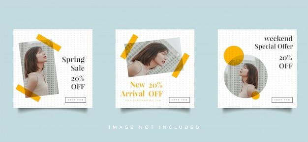 Fashion social media feed пост продвижение дизайн вектор коллекции Premium векторы
