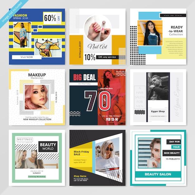 Fashion social media post template for marketing Premium Vector
