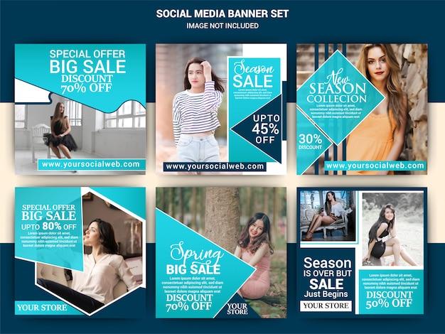 Fashion social media post template set Premium Vector
