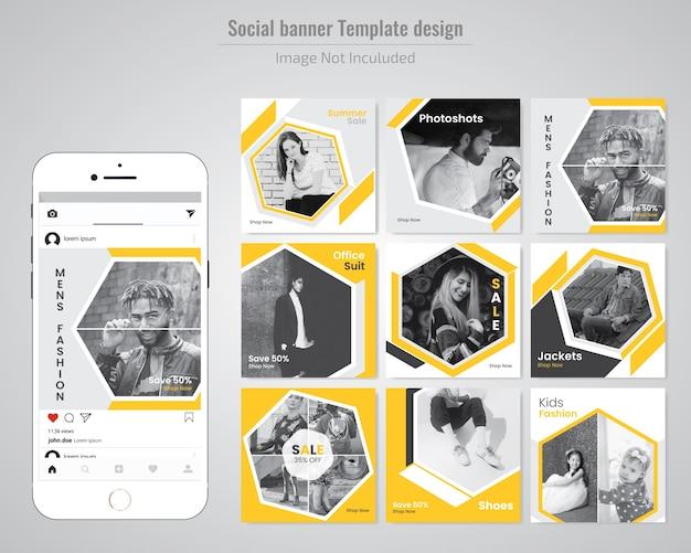Fashion social media post template Premium Vector