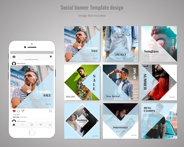 Fashion social media post template Premium Vector