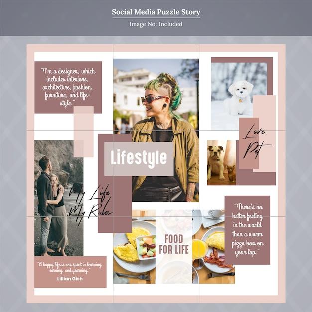 Fashion social media puzzle story template Premium Vector