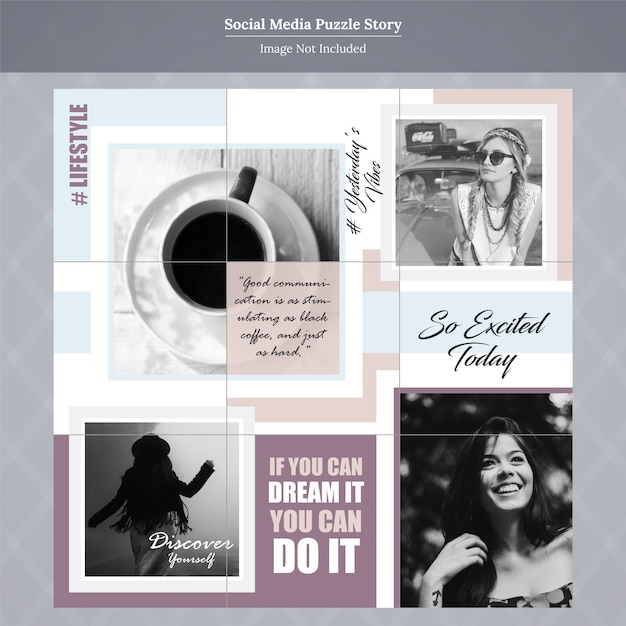 Fashion social media puzzle story template Premium Vector