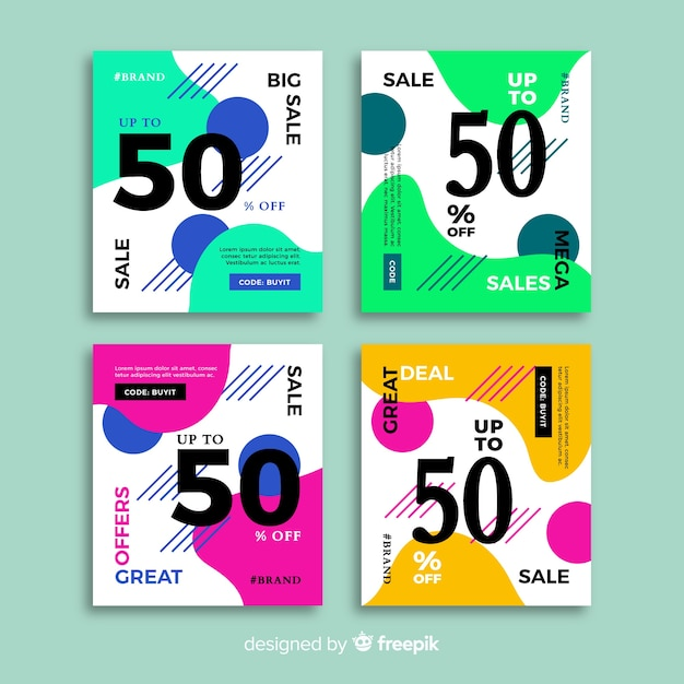Fashion social media sales banners collection Free Vector