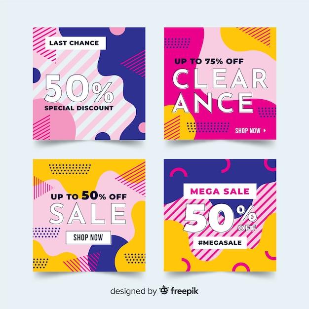Fashion social media sales banners Free Vector