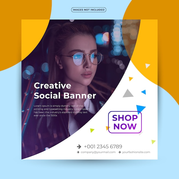 Fashion square banner for social media Premium Vector