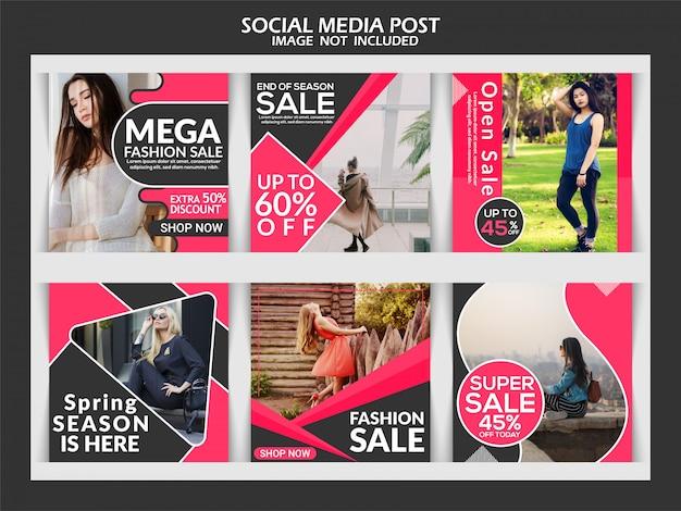 Fashion square banner template for instagram Premium Vector