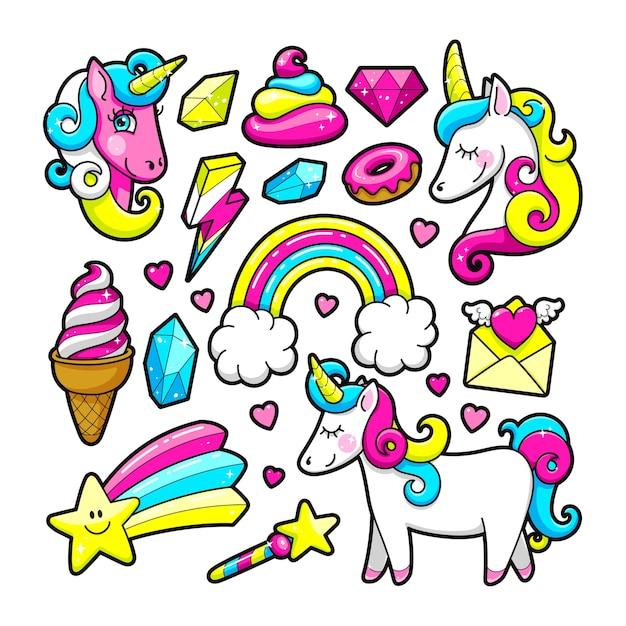 Модные наклейки в стиле поп 80-90-х годов. единорог, кристалл, бриллиант, мороженое, радуга, десерт Premium векторы