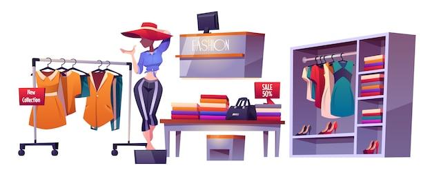 Negozio di abbigliamento, manichino interno per negozio di abbigliamento Vettore gratuito