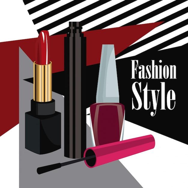 ファッションスタイルの化粧品マスカラの口紅とマニキュアポスター Premiumベクター