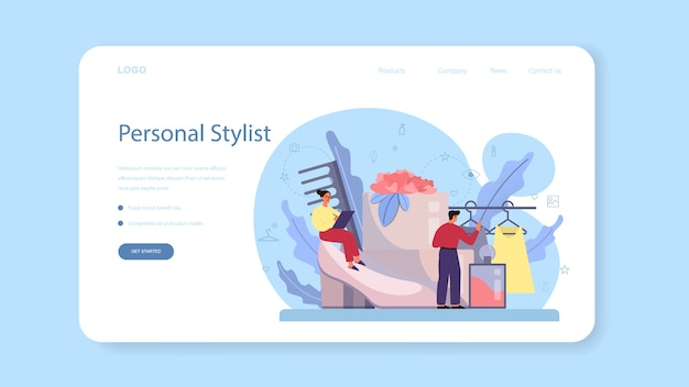 ファッションスタイリストのウェブバナーまたはランディングページ。現代的で創造的な仕事、プロのファッション業界のキャラクターがクライアントのために服を選ぶ。 Premiumベクター