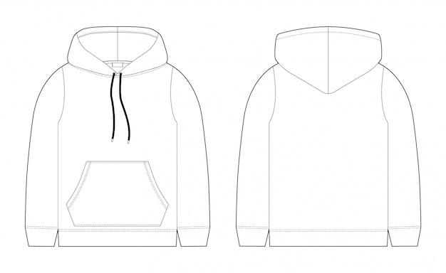 1643818516f Fashion technical sketch for men hoodie. front and back view. technical  drawing kids clothes