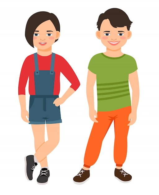 Fashion teen boy and girl characters isolated. teenage high school smiling children vector illustration Premium Vector
