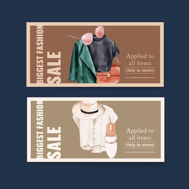 Tシャツ、コート、バッグ、帽子、靴の水彩イラストとファッションクーポンデザイン。 無料ベクター