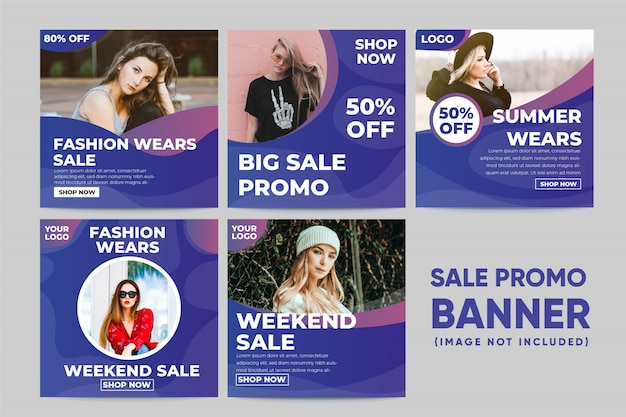 Fashion wears banner social media post template Premium Vector