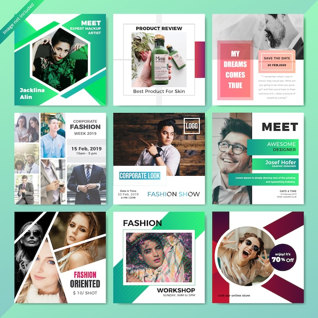 Fashion web social media post template Premium Vector
