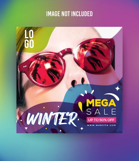 Fashion winter social media post template premium Premium Vector