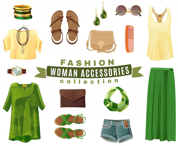 Fashion woman accessories collection Free Vector