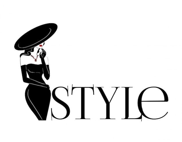 Fashion woman in big hat and diamonds logo Premium Vector