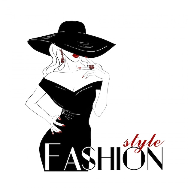 Fashion woman in big hat with red lips Premium Vector