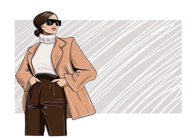 Fashion woman in blazer and turtleneck illustration Premium Vector