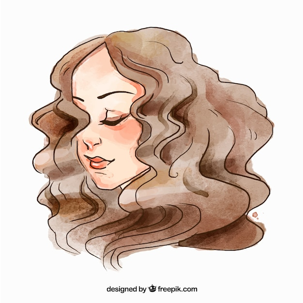 Fashion woman face with curly hair Free Vector