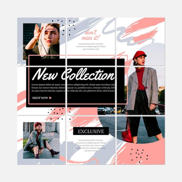 Fashion woman instagram puzzle collection Free Vector