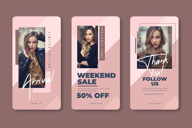 Fashion woman instagram stories templatesales Free Vector