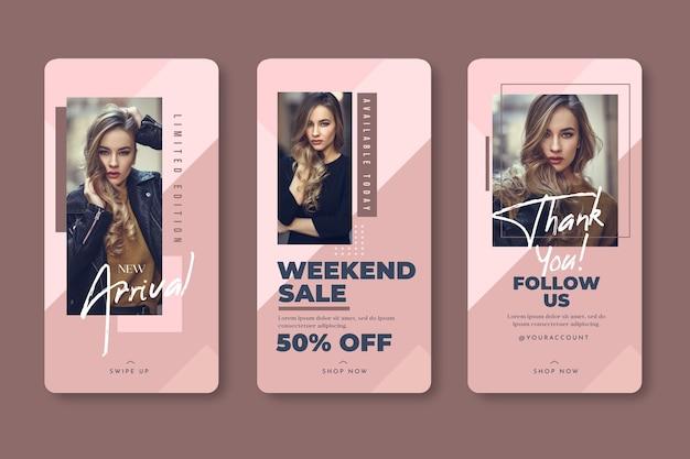 Fashion woman instagram stories templatesales Premium Vector