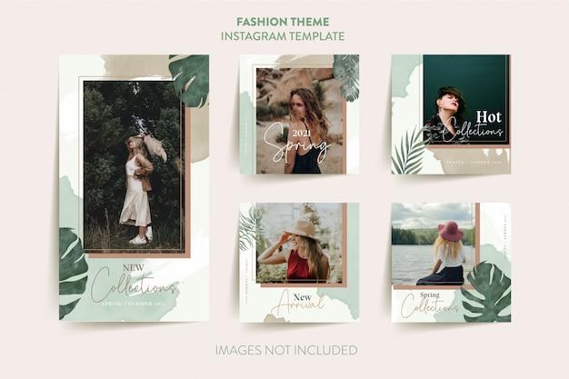 Шаблон рассказа instagram женщины моды с тропическими листьями Premium векторы