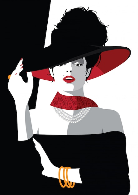 Fashion woman in style pop art. vector illustration Premium Vector
