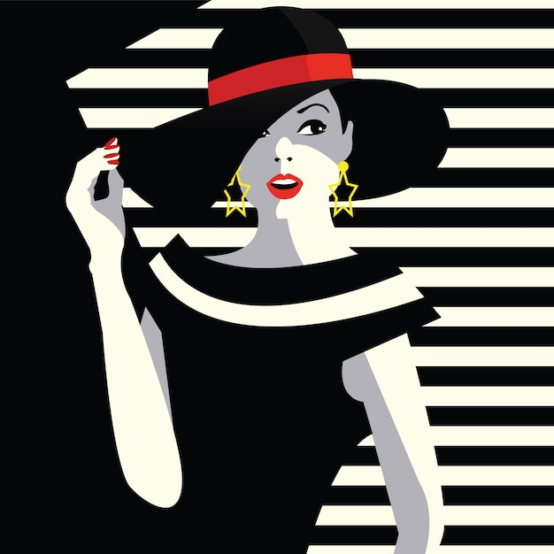Fashion woman in style pop art. Premium Vector
