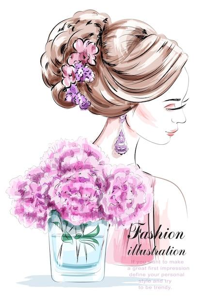 Женщина моды с красивой прической Premium векторы