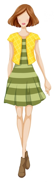 Fashion woman with green dress and yellow jacket Free Vector
