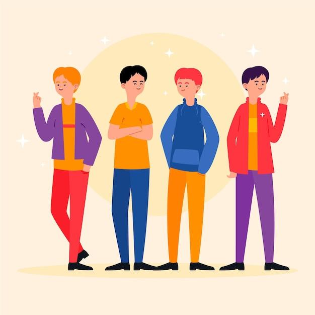 ファッションの若いk-pop男の子グループ 無料ベクター