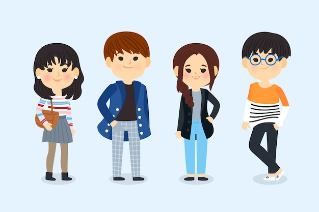 Мода молодых корейцев проиллюстрирована Бесплатные векторы