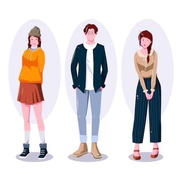 Мода молодых корейцев иллюстрации Бесплатные векторы