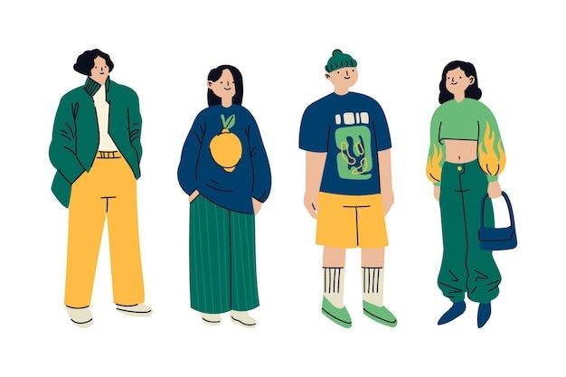 Moda giovani coreani Vettore gratuito