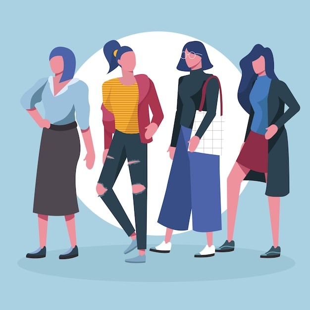 Fashionable creative people millennials character Premium Vector