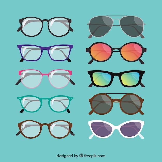 Fashionable glasses collection Premium Vector