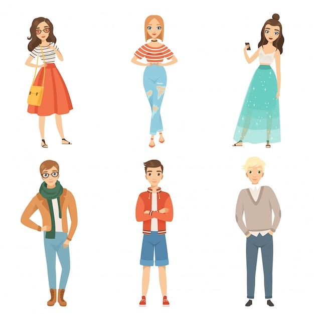 Fashionable guys and girls. cartoon male and female characters in various fashion poses Premium Vector