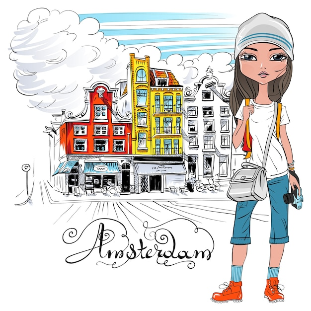 Fashionable hipster girl tourist in a leather jacket, jeans and red boots walking down the street in amsterdam with traditional dutch house, holland, netherlands. Premium Vector