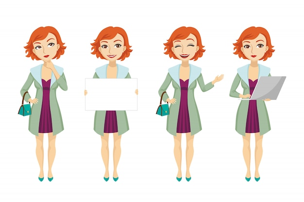 Fashionable redhead woman in purple dress character set Free Vector