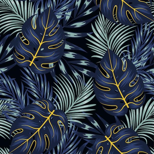 Модный тропический бесшовный узор с яркими растениями и листьями на черном фоне Premium векторы